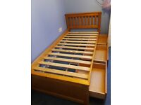 single solid 3 drawer pine bed