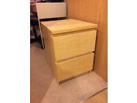Ikea Malm Chest of 2 Drawers x2 - Birch Veneer
