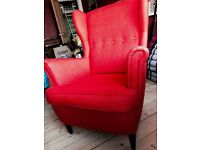 IKEA orange Strandmon wing chair good condition collection only