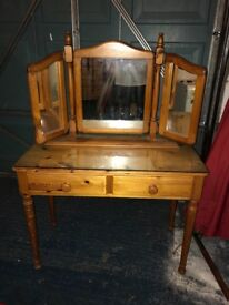 Solid pine dressing table with glass top and matching mirror