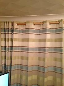 """Curtains-ring top, lined, beige, duck egg blue, lime green stripe 66"""" X 72"""" 3 pairs available"""