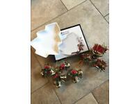 Maxwell & Williams White China Christmas Tree Dish (NEW IN BOX) + 8 Christmas Napkin Rings
