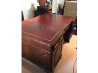 Large Antique Style Twin Pedestal Partners Leather Top Writing Desk