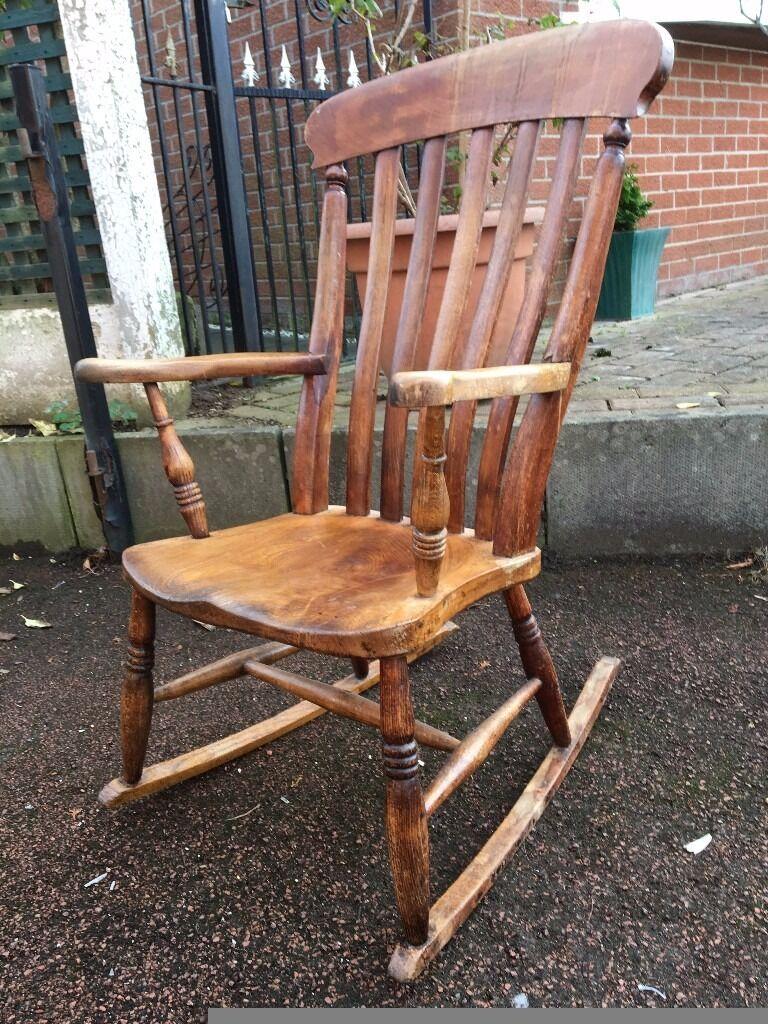 Antique oak rocking chair - Antique Vintage Rocking Chair Antique Oak Rocking Chair Old Rocking Chair Reduced