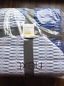 Brand New NEXT White Blue cotton printed throw Single 150 x 200cm