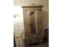 Victorian pine wardrobe with drawer and mirror