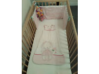 Baby Cot - Comes with Matress, Bumper and 3 Fitted Sheets