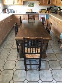 Vintage solid oak 7ft refectory style dining table and 6 chairs