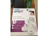 Philips Avent manual breast pump with 2 new born bottles