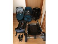 Reduce!Joie pushchair,pram,travel system ,Chrome,carry cot, Car seat with ISO fix base ,rain cover