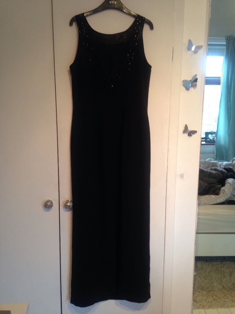 Black maxi evening dress size 12 , lined & dry cleaned