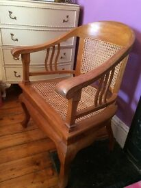 Solid Wood Arm Chair with Rattan Cane Seating & Back.