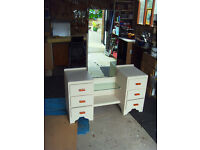 VINTAGE/RETRO DRESSING TABLE IN ANTIQUE CREAM FULLY REFURBISHED.