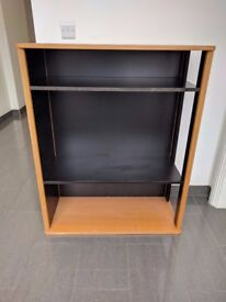 Oak and black bookcase