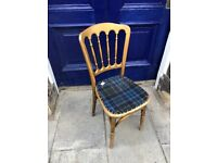 Gilt framed chair -with tartan seat cover Could be used in a bedroom or hallway