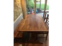 Wood dining table and chairs and bench