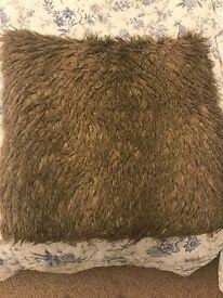4 Large brown long hair cushions