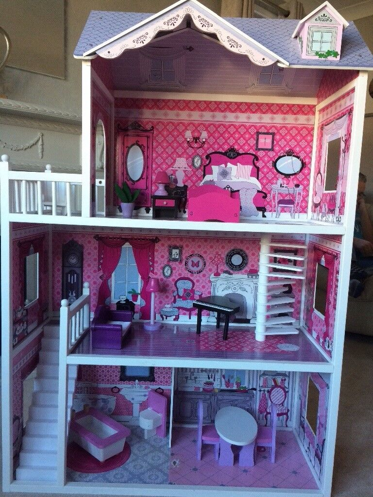 Large 3 Storey Dolls House Barbie Doll Size And Wooden Furniture In