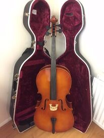 Full size Hungarian Szegedi Hangszergyarto cello in Hiscox hard case