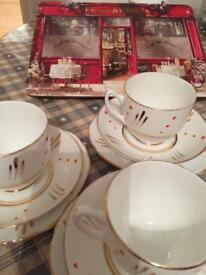 3 English bone china cups saucers & plates