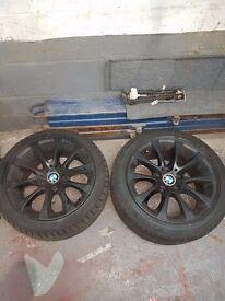 17'' GENUINE BMW 3 SERIES F30 RUN FLAT SET OF 4 M SPORT E90 E91 ALLOY WHEELS MATTE BLACK WITH TYRES