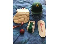 Cricket equipment (bat, pads, gloves, helmet, ball)