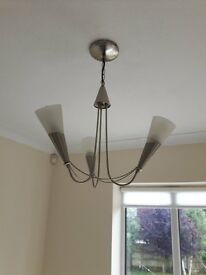 Ceiling light with 3 bulbs/frosted glass shades - Living/Lounge/Dining/Hallway (2 available)