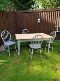 Solid pine Farmhouse table With 4 Chairs In Farrow & Ball