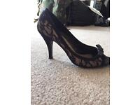 Lace peep toe shoes new look size 4