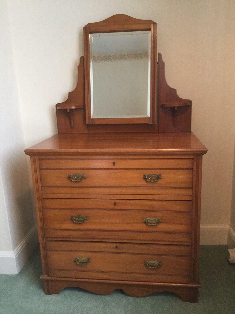 Antique Edwardian Satinwood Dressing Table Reduced For