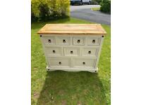 Shabby chic Mexican pine chest of drawers