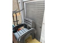 Grey metal garden table and 6 armchairs £50