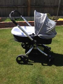 Mothercare Spin Black & Silver Unisex Pram Pushchair From Birth World / Parent Facing