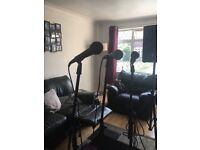 3 microphones leads and stands