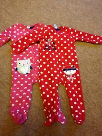 Two Girls Fleecy Sleepsuits age 9-12 months