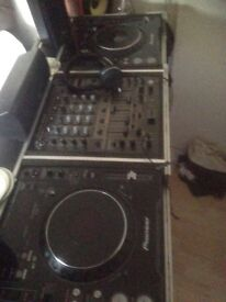 All pioneer efx machine cdjs 1000mk3 mixer djm 600 flight cases amp speakers all cables included