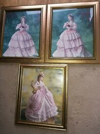 3 Elegant Pictures Of Ladies In Old Fashioned Dresses in Havant