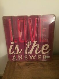 New Sealed Love Themed Red Plank Wood Sign 'Love Is The Answer' 40x40cm
