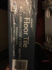 GREY CERAMIC FLOOR TILES 400x400mm pack of 8 x 2 boxes