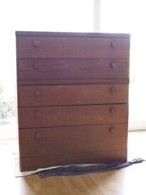 Stag teak veneer chest of drawers