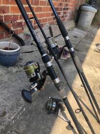 2 x Carp rods 3x fishing reels carp fishing