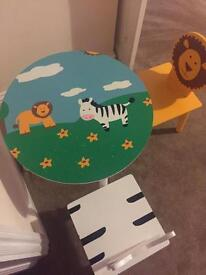 Kids table and chairs -wooden