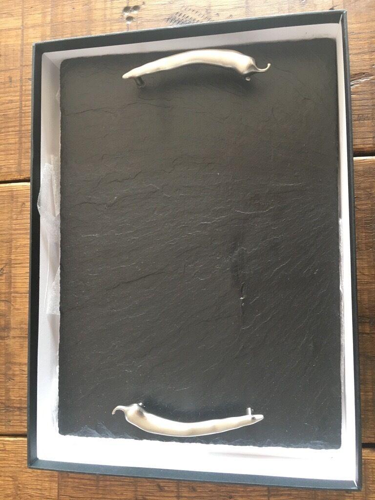 Slate tray-\'The just slate company\', metal chilli handles 35cm/25cm ...