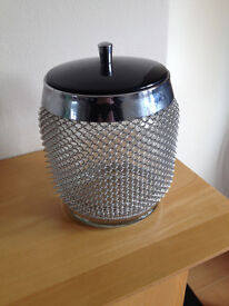 VINTAGE ART DECO GLASS ICE BUCKET .. MANY USES LOVELY LOOKING THING RARE .