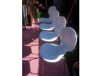 WHITE AND CHROME CHAIRS X 4
