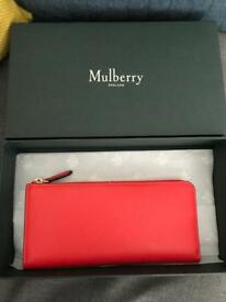 Genuine MULBERRY Long Part Zip Wallet in Fiery Red Debossed Tree