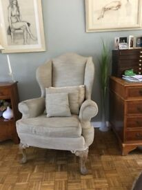 2 WING BACKED ARMCHAIRS. ,