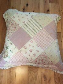 Vintage look large patchwork cushion