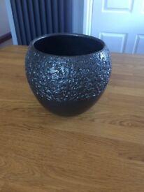 Grey metallic plant pot