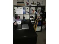 Ikea desk with bookcase dimension and double bed for sale